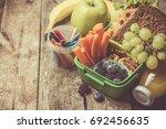 healthy school lunch box | Shutterstock . vector #692456635