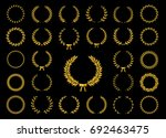 collection of gold circular... | Shutterstock .eps vector #692463475