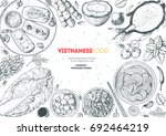 vietnamese food top view frame. ... | Shutterstock .eps vector #692464219
