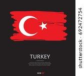 flag of turkey with brush stroke | Shutterstock .eps vector #692472754