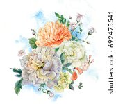 vintage watercolor bouquet with ... | Shutterstock . vector #692475541