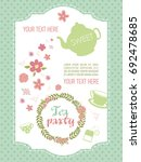 tea party invitation card.... | Shutterstock .eps vector #692478685