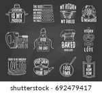 apron and saucepan  bagel and...   Shutterstock .eps vector #692479417