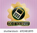 golden badge with mobile phone ... | Shutterstock .eps vector #692481895