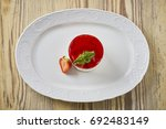 dessert on a beautiful wooden...   Shutterstock . vector #692483149