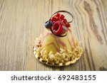 dessert on a beautiful wooden...   Shutterstock . vector #692483155