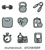 fitness icons freehand 2 color | Shutterstock .eps vector #692484889