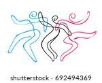 folk dance group line art.... | Shutterstock .eps vector #692494369