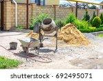 cement mixer machine at... | Shutterstock . vector #692495071
