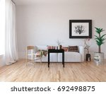 white room interior. 3d... | Shutterstock . vector #692498875