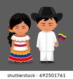 venezuelans in national dress... | Shutterstock .eps vector #692501761
