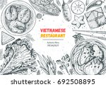 vietnamese food top view frame. ... | Shutterstock .eps vector #692508895