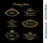 golden calligraphic vignettes... | Shutterstock . vector #692515834