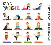 kids yoga icons set. smiling... | Shutterstock . vector #692516287