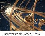 armillary sphere on blue... | Shutterstock . vector #692521987