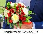 wedding bouquet of red and... | Shutterstock . vector #692522215