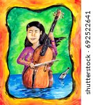 a woman cello player on a body... | Shutterstock . vector #692522641