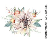 watercolor autumn composition.... | Shutterstock . vector #692535331