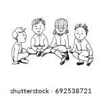 illustration  of kids sitting... | Shutterstock .eps vector #692538721