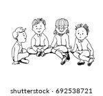 illustration  of kids sitting... | Shutterstock .eps vector #692538721