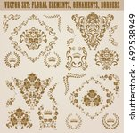 set of gold damask ornaments....   Shutterstock .eps vector #692538949