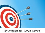 archery target with 3 arrows... | Shutterstock .eps vector #692543995