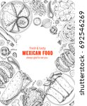 mexican cuisine top view frame. ... | Shutterstock .eps vector #692546269