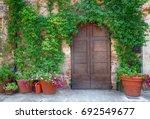 beautiful old wooden door... | Shutterstock . vector #692549677