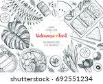vietnamese food top view frame. ...   Shutterstock .eps vector #692551234