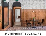 cafe in a loft style with... | Shutterstock . vector #692551741