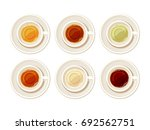 vector set of porcelain cups of ... | Shutterstock .eps vector #692562751