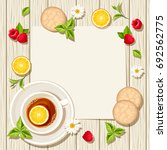vector card with cup of tea ... | Shutterstock .eps vector #692562775
