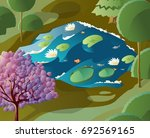 pond with aquatic plants in... | Shutterstock .eps vector #692569165