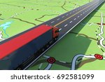 fast truck in a highway. gps... | Shutterstock . vector #692581099