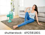 beautiful pretty woman feeling... | Shutterstock . vector #692581801
