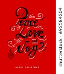 peace love and joy christmas... | Shutterstock .eps vector #692584204