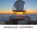beach lifeguard lookout tower... | Shutterstock . vector #692594851