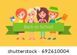 pupils in good mood ready to go ... | Shutterstock .eps vector #692610004