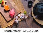 traditional japanese cuisine.... | Shutterstock . vector #692612005
