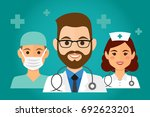 team of health workers icons ... | Shutterstock .eps vector #692623201