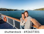 cruise couple tourists taking... | Shutterstock . vector #692637301