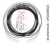 love and hate. hand lettering... | Shutterstock .eps vector #692638021