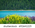 landscape at lake tekapo and... | Shutterstock . vector #692641225