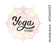 hand lettering logo with... | Shutterstock .eps vector #692642425