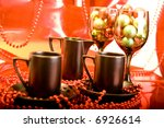 black coffee cups red backround | Shutterstock . vector #6926614