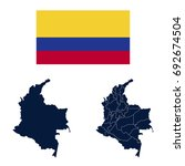navy blue colombia map and flag ... | Shutterstock .eps vector #692674504