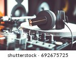 big black dj headphones for... | Shutterstock . vector #692675725