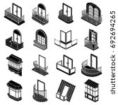 balcony window forms icons set. ... | Shutterstock .eps vector #692694265