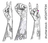 set of rock and roll music hand ... | Shutterstock .eps vector #692697934