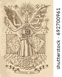 mystic or occult drawing of... | Shutterstock .eps vector #692700961